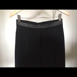 Black trouser pant-Long! Leather waist detail